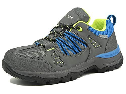 Knixmax Damen Wanderschuhe Sport Hiking Schuhe Outdoor Anti-Rutsch-Sohle Wasserdicht Trekking-Wanderhalbschuhe, 40 EU, Grau-blau
