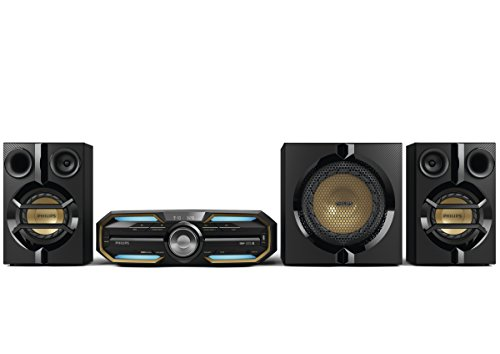 Philips FX55 HiFi Minisystem mit Bluetooth NFC (720 Watt, MAX Sound, LED Beleuchtung, USB, CD-MP3) schwarz (Home Stereo System Subwoofer)