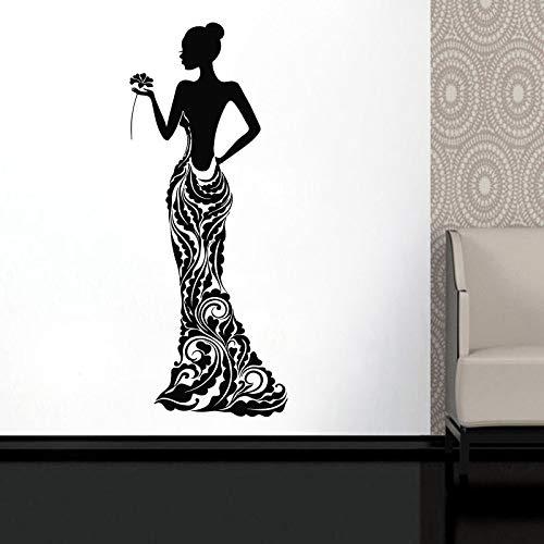 Frau Vinyl Aufkleber Modell Mädchen Kleid Rose Bobo Muster Wohnkultur Ideen Zimmer Interieur Schlafzimmer Wandkunst 57X147CM ()