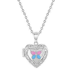925 Sterling Silber Emaille Schmetterling Herz Mädchen Medaillon Halskette Anhänger 40,6 cm