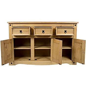 Home Discount® Corona 3-door 3-drawer Sideboard Solid Waxed Pine Mexican Furniture 7
