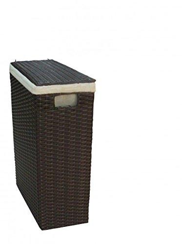 Nischenwäschekorb braun aus Kunststoff-Geflecht mit waschbarem Stoffeinsatz, Größe:Größe 2