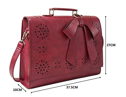 ECOSUSI Borsa a Tracolla Donna Borsa Messenger Vintage per Laptop 14 Pollici Valigetta da Ufficio Rosso