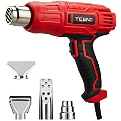 Décapeur Thermique, TEENO 2000W Pistolet à Air Chaud,2 Températures 350℃/600℃, Vitesse du Vent 300-500L/min, 4 Accessoires en Métal