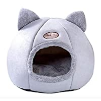 Removable Cat Bed Self Warming Cats House with Foldable Mattress Puppy Cage Lounger Grey ropa para perro Drop