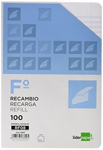 RECAMBIO LIDERPAPEL FOLIO 100 HOJAS 60G/M2PAUTA 5ª