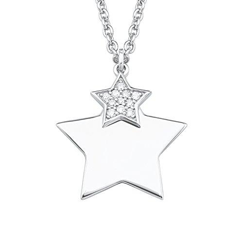 S.Oliver Damen Kette mit gravierbarem Sternen-Anhänger 925 Sterling Silber rhodiniert Zirkonia 42+3 cm weiß
