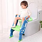 Töpfchentrainer Kinder Töpfchen Traniner Einstellbar Toilettensitz mit Leiter Töpfchen Sitz mit Treppe für 1-7 Kinder(Blau&Grün)