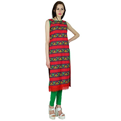 Bimba Coton personnalisé droite Kurti manches Red Top Formal Blouse Multicolore
