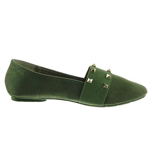 Angkorly - Scarpe da Moda Mocassini slip-on donna borchiati Tacco a blocco 1 CM Verde