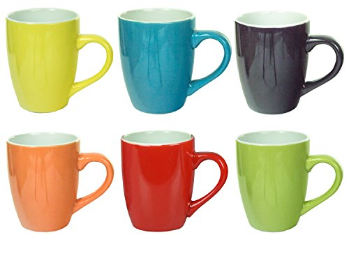 Ceramic 300ml Coffee Tea Cup Mug Mugs in Choice of Deals (Set of 6 Assorted)