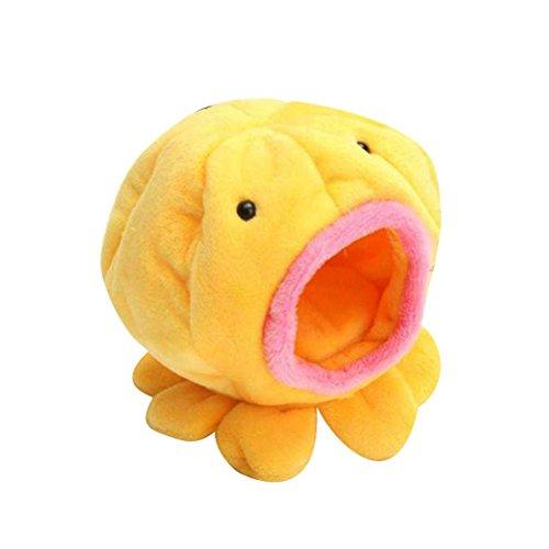 UEETEK Oktopus Form Ratte Hamster Vogel warmes weiches Bett Haustier Spielzeug Haus Käfigläufer (gelb)