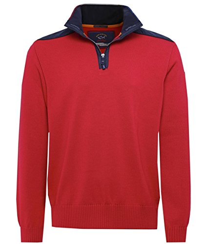 Paul and Shark Herren Schurwolle Half-Zip Pullover Rot L