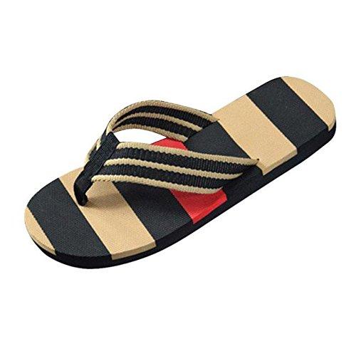Longra I flip flops a righe per gli uomini estivi Nero