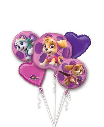 GIRL PUPS SKYE & EVEREST PAW PATROL Foil Balloon Bouquet (5 pieces) Decoration Supplies Birthday Party Supplies by Anagram