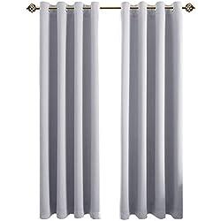 FLOWEROOM Blickdichte Gardinen Verdunkelungsvorhang - Lichtundurchlässige Vorhang mit Ösen für Schlafzimmer Geräuschreduzierung Grau weiß 245x140cm(HxB), 2er Set