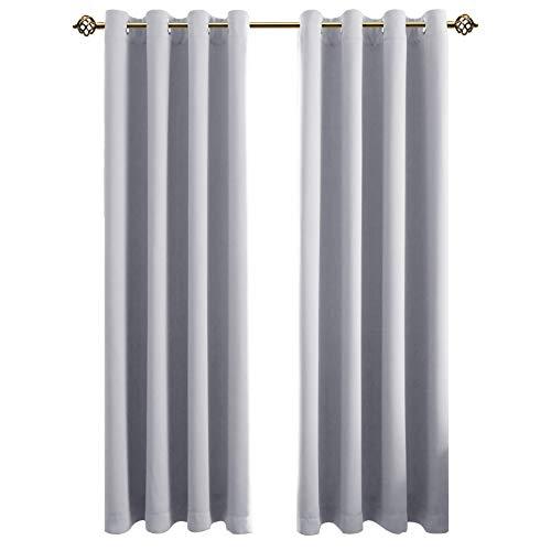 e Gardinen Verdunkelungsvorhang - Lichtundurchlässige Vorhang mit Ösen für Schlafzimmer Grau weiß 245x140cm(HxB), 2er Set ()