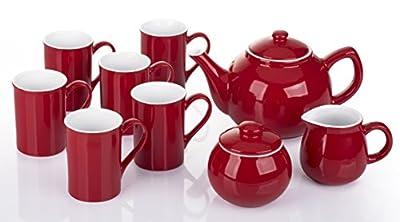 9 Piece 2 Tone Red & White Tea Set
