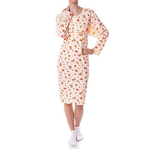 Damen Nachthemd Schlafshirt Nighty Sleepshirt Negligee 21693, Farbe:Orange, Größe:XL