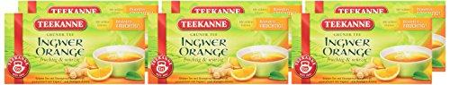 Teekanne Grüner Tee Orange & Ingwer 20 Beutel, 6er Pack (6 x 35 g Packung)