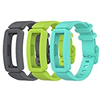 EEweca 3-Pack Bands Compatible with Fitbit Ace 2 Replacement Strap for Kids Multi-Colored EE-190724-02