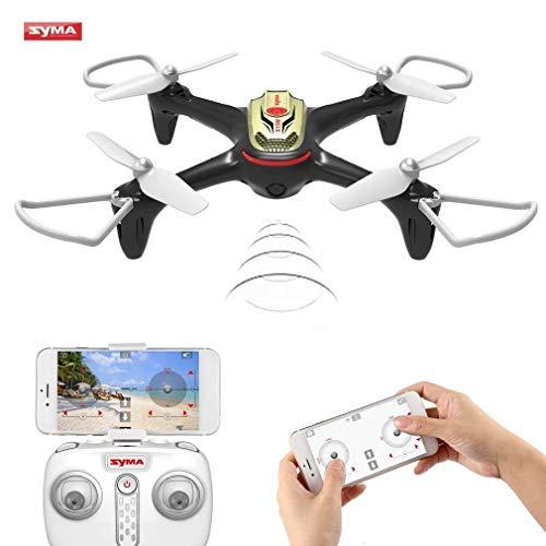 Syma x15 w wifi fpv drone con telecamera in tempo reale video 2.4 ghz 4 ch giroscopio a assi app controllo rc quadcopter con piano di volo, altitudine hold, 3d flips, headless mode