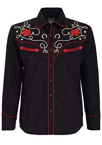 King Kerosin Herren Langarm Hemd Im Trendigen Western Style Mexican Langarm Frühlingsmode Regular Fit Bestickt Mexican -