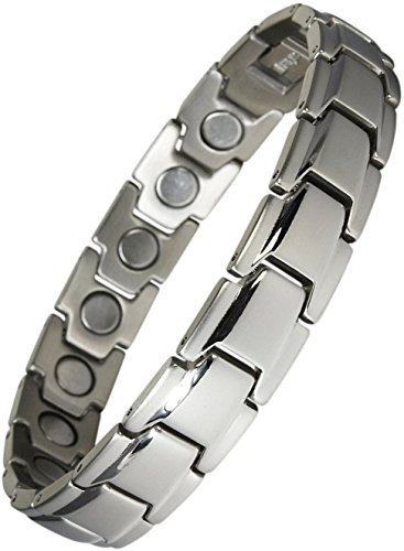 Original YINGA-VITAL® Magnetschmuck Herren Armband. Extrastarke 4000 Gauss Magnete. 18 Magnete. Magnetarmband in Stil Silber, Länge 18,5cm