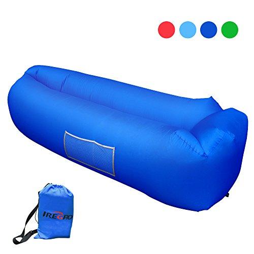 Aufblasbares Sofa iRegro tragbarer aufblasbarer Sitzsack mit integriertem Kissen und integriertem Seitentaschen, wasserdichtes air Lounger aufblasbare couch Outdoor Sofa aufblasbar für Camping, Park, Strand, Hinterhof (saphirblau)