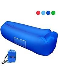 Aufblasbares Sofa iRegro tragbarer aufblasbarer Sitzsack mit integriertem Kissen und integriertem Seitentaschen, wasserdichtes air Lounger aufblasbare couch Outdoor Sofa für Camping