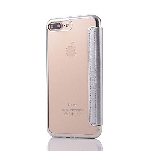 """HYAIT® For IPHONE 7 PLUS 5.5"""" Case[Credit Card Slots][Half Cover] Dual Layer Hybrid Armor Rugged Plastic Hard Shell Flexible TPU Bumper Protective Cover-GOLD WHITE"""