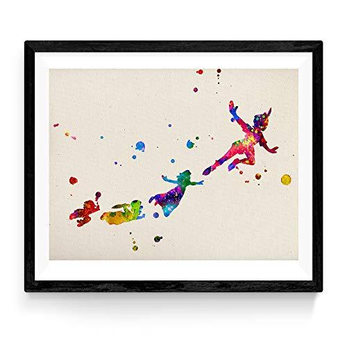 Lámina para enmarcar 'Peter pan volando con amigos'. Nacnic. Laminas decorativas para pared. Laminas estilo acuarela. Regalo creativo para los niños. Papel 250 gramos alta calidad