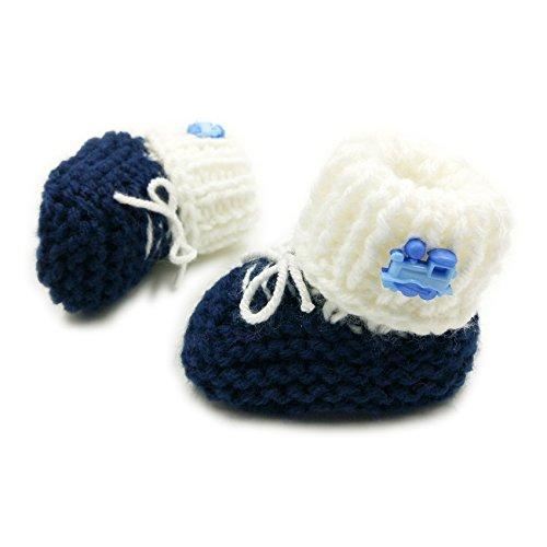 Newborn Baby Booties-Handmade Crochet - Sneakers-Navy Blue/White Baby Booties Sneakers-Navy Blue/White-6-12 mths (Crochet Booties Baby)
