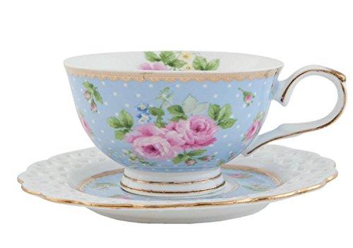 Clayre & Eef 6ce0435bl Taza de café taza con platillo Color Azul Claro Flores Interior aprox. 0,2l