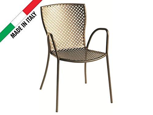 Sedie Da Esterno Bar.Sedia Poltroncina Impilabile In Metallo Ferro Da Esterno Giardino