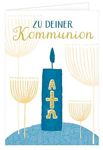 Grußkarten-Set - Glückwünsche zur Kommunion. Doppelkarte mit Kuvert in Folie (Sortiert - nicht frei wählbar!)