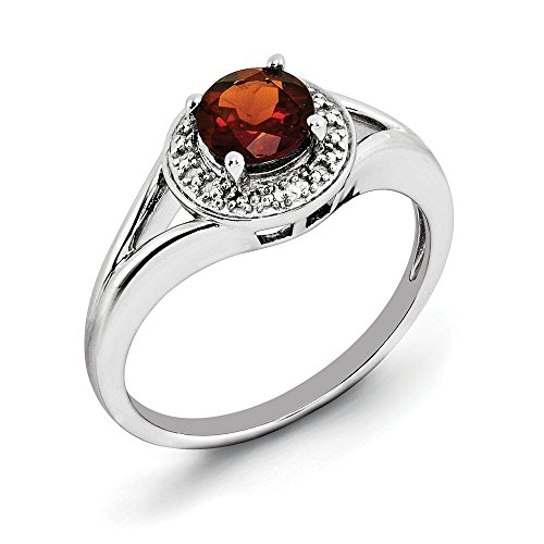 JewelryWeb  -  925 Sterling-Silber  Sterling-Silber 925 Rundschliff   Leicht Getöntes Weiß/Top Crystal (I) Grenat Diamant  (10k Birthstone Ring)