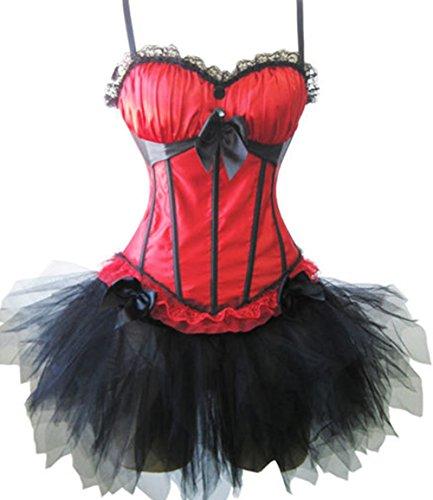 Damen Satin Spitze Bustier Corsage Burlesque Corsagenkleid Halloween Kostüm