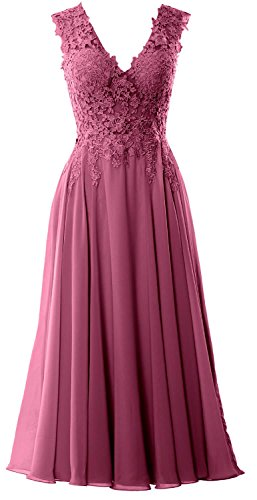 MACloth Gorgeous Tea Length Prom Homecoming Dress V Neck Formal Evening Gown Wine Red