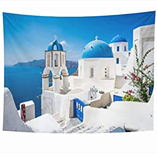 Tapestry Art Decor, Wall Hanging Tapestries 80 x 60 Inches Scenic View Traditional Cycladic White Houses Blue Domes Oia Village Santorini Island Greece Decor Tapestry for Home Bedroom Living Room Dorm