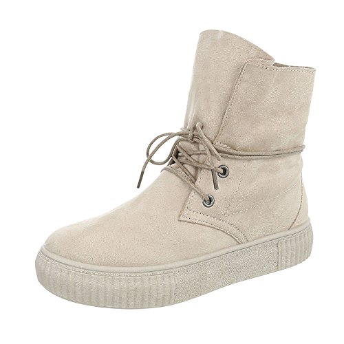 Ital-Design Scarpe da Donna Sneaker Piatto Sneakers High beige JA3209