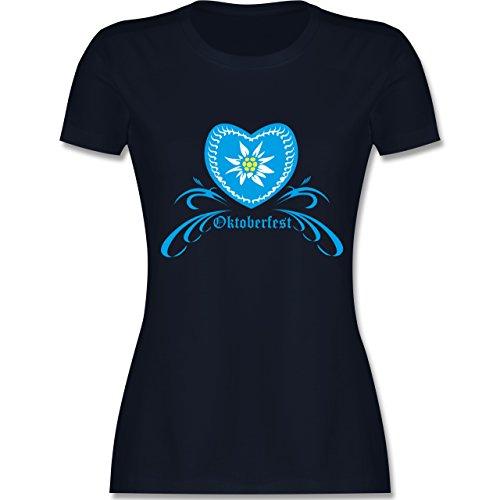Shirtracer Oktoberfest Damen - Oktoberfest - Herz mit Edelweiss - Damen T-Shirt Rundhals Navy Blau