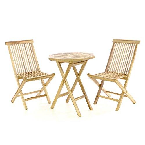 DIVERO Gartenmöbelset Sitzgruppe aus Teakholz mit Tisch und zwei Stühlen 3 tlg.