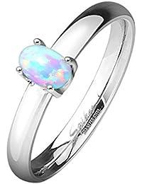 Paula & Fritz® Anello di fidanzamento in acciaio inox chirurgico 316L Classic con opale disponibile anello misure 47(15)–60(19)