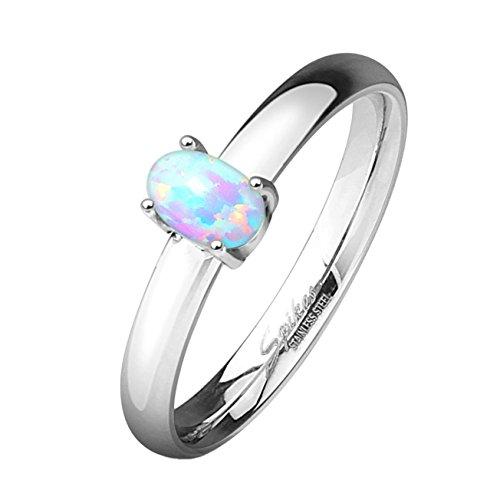 Opal Modeschmuck - Paula & Fritz® Verlobungsring aus Edelstahl