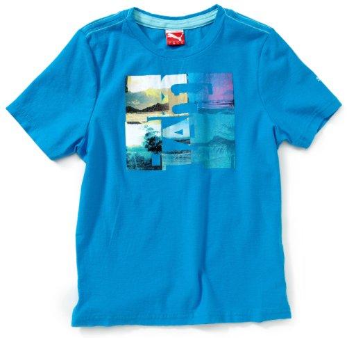 PUMA, Maglietta Bambino Jamaica Beach, in cotone organico, Blu (blue danube), 128 cm