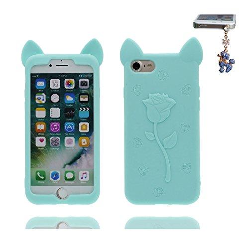 """iPhone 7 Hülle, 3D Cartoon Einhorn Cover Unicorn iPhone 7 handyhülle (4.7 zoll) flexible TPU Shell iPhone 7 case (4.7""""), Staub Rutsch kratzfest & Staubstecker blau"""
