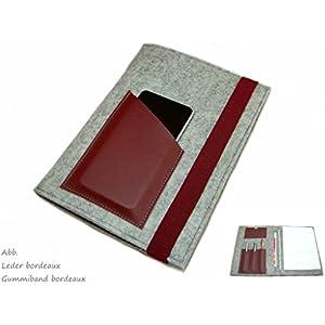 Organizer mit Tabletfach inkl. Din A5 Block Merino Wollfilz Filz mit Leder und Gummiband Farbwahl