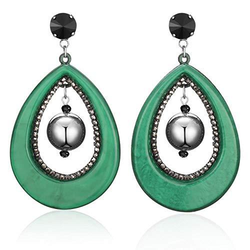 Smilelady Damen Schmuck Ohrringe Tropfenförmige Ohrringe aus Acryl Weihnachten Geschenk Valentinstag Jubiläum Jubiläen Coffee Color + Green