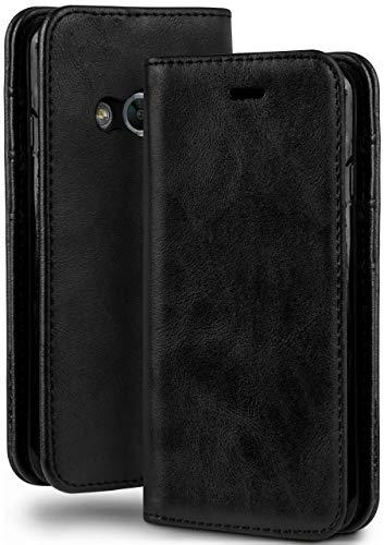 moex® Booklet in Lederoptik - Kartenfächer und Aufstellfunktion passgenau für Samsung Galaxy Xcover 3 | Eleganter 360 Grad Vollschutz, Schwarz